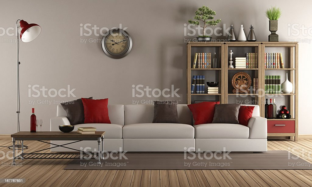 Modern sofa in a vintage living room stock photo