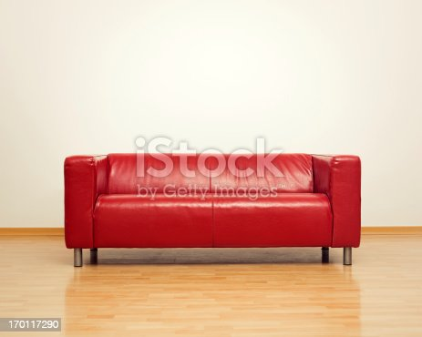 Modern red sofa for two persons.