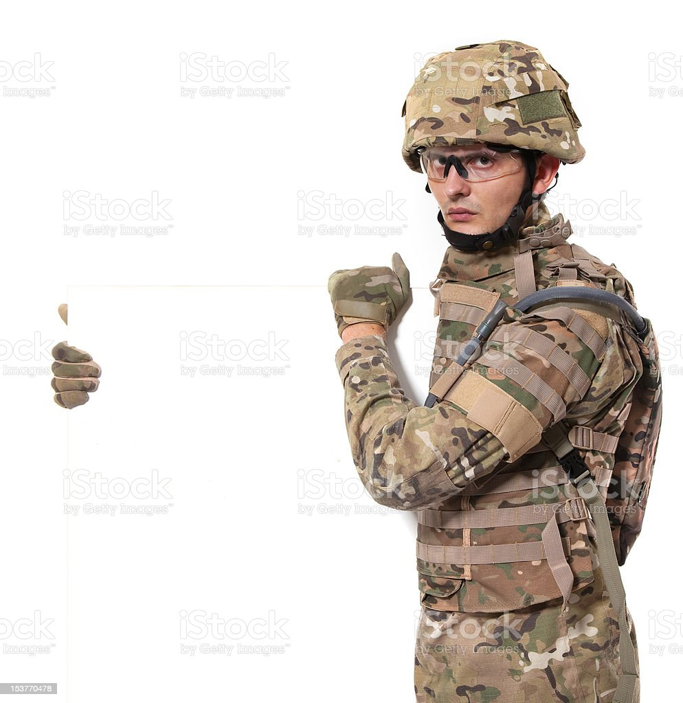 Modern soldier with banner royalty-free stock photo