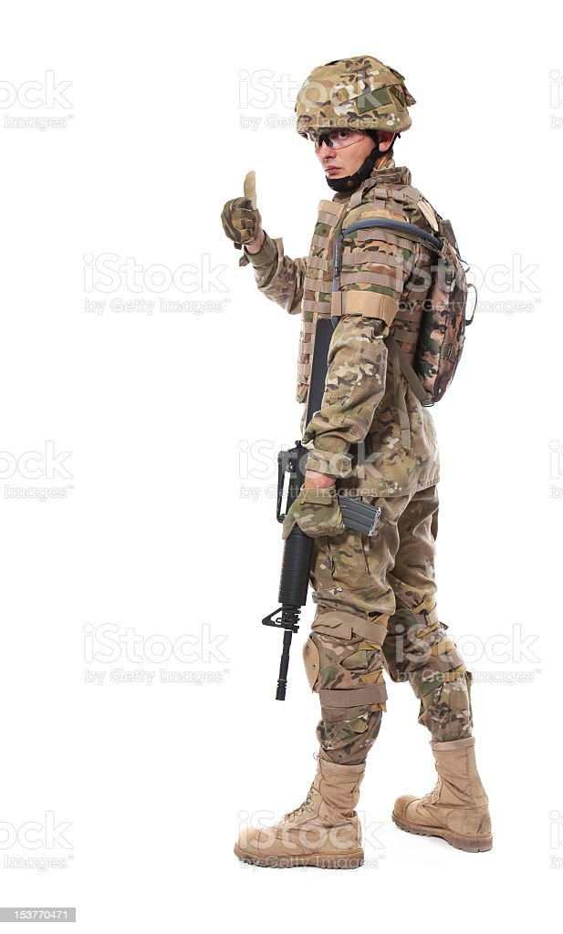 Modern soldier with rifle stock photo