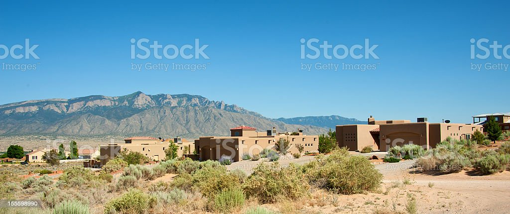 Modern Southwest Adobe Houses in Rio Rancho, New Mexico stock photo