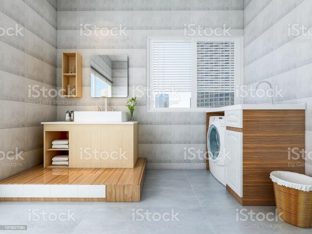 Modernes Geräumiges Badezimmer Mit Waschbecken Und ...