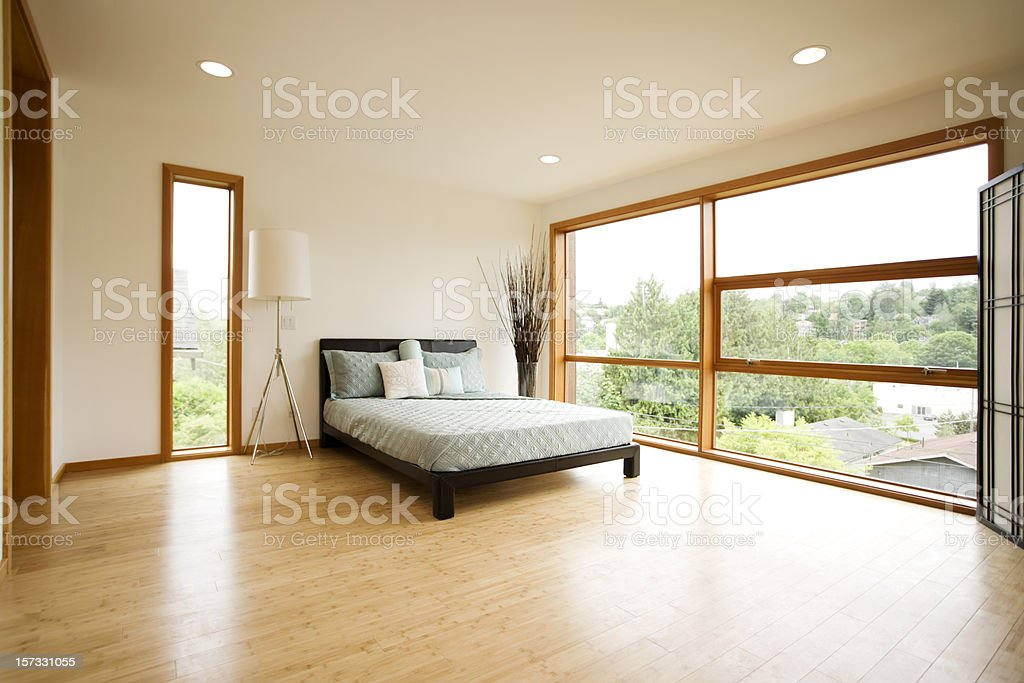 Modern Spacious Bedroom with Hardwood Floors stock photo
