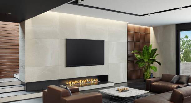 Modernen minimalistischen Wohnzimmer mit Eco Kamin – Foto