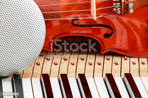 istock modern speaker and classical violin on white and black piano keys close-up background 943576584