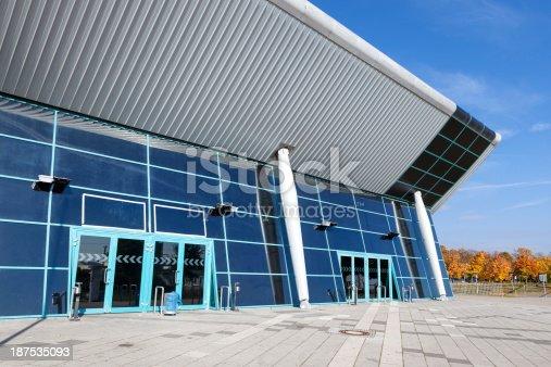 Modern sports arena, entrance and facade