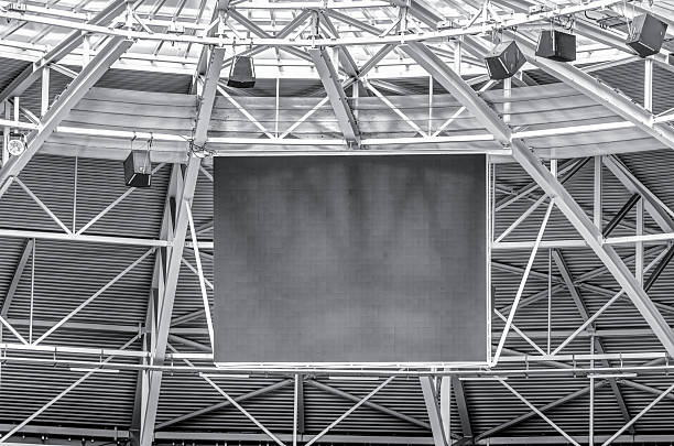 Modern stadium roof construction and LED display – Foto