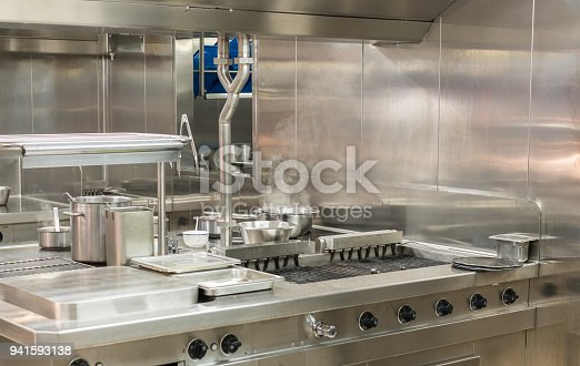 istock Modern stainless steel hobs in commercial kitchen 941593138