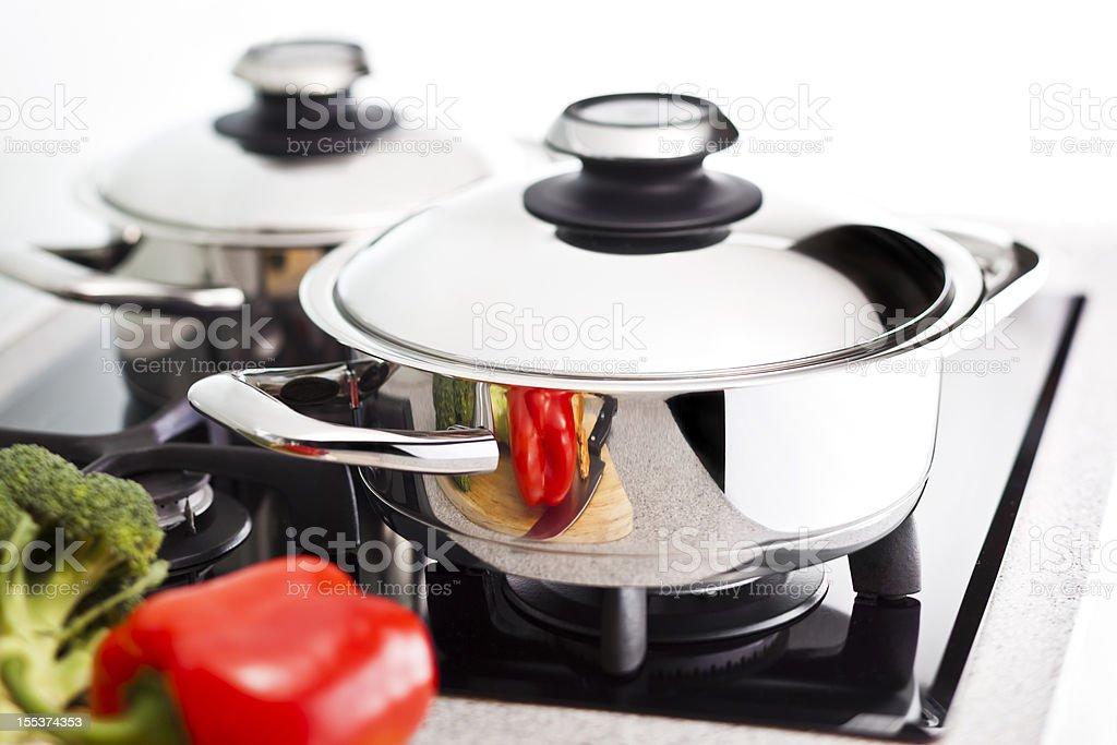 Modern stainless steel pan royalty-free stock photo