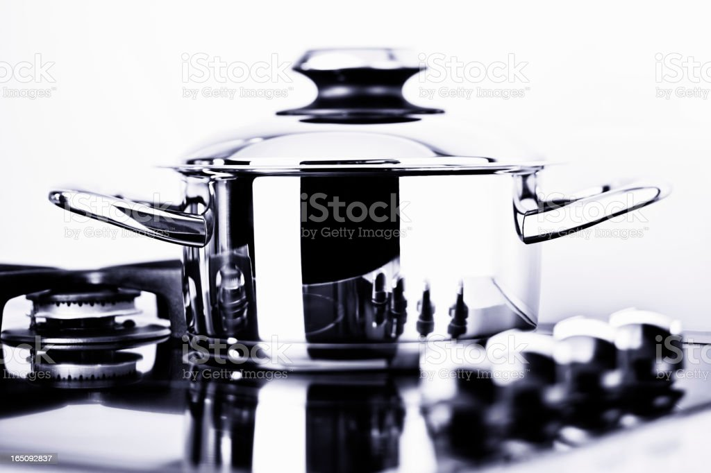 Modern stainless steel pan stock photo