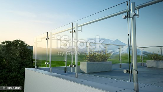Balustrade - steel and glass, 3D illustration