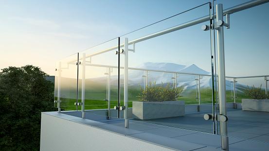 Balustrade - steel and glass, 3D illustration