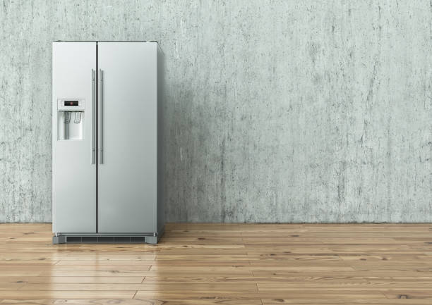 Modern Stainless Steel Refrigerator on a concrete wall and on a wooden floor - 3D Rendering Modern Stainless Steel Refrigerator on a concrete wall and on a wooden floor -- 3D Rendering fridge stock pictures, royalty-free photos & images