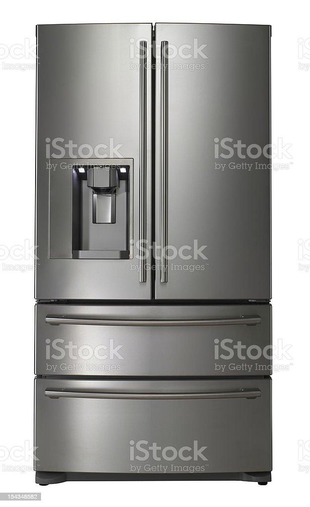 Modern stainless steel refrigerator on white stock photo