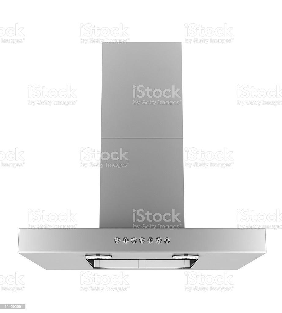 Modern stainless steel ventilation hood on white background stock photo