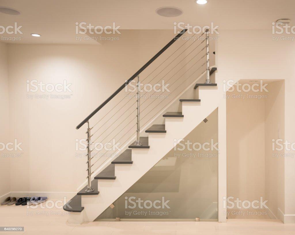 Modern staircase hand rail design stock photo