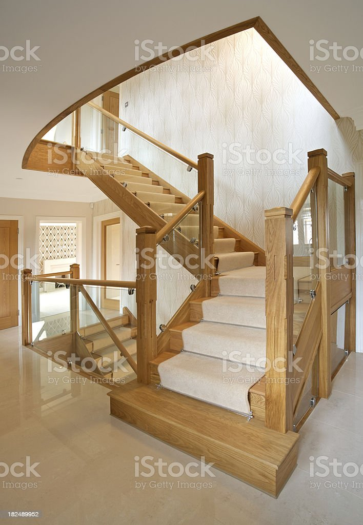 Modern staircase in a luxury new home stock photo