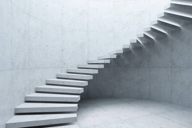 modern staircase in concrete interior, 3d rendering stock photo