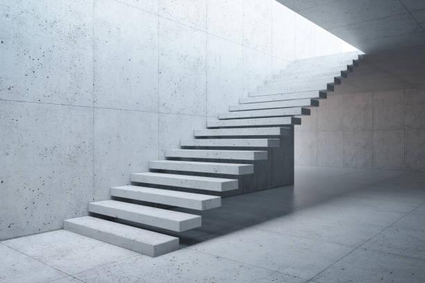 escalier moderne en béton intérieur - marches marches et escaliers photos et images de collection