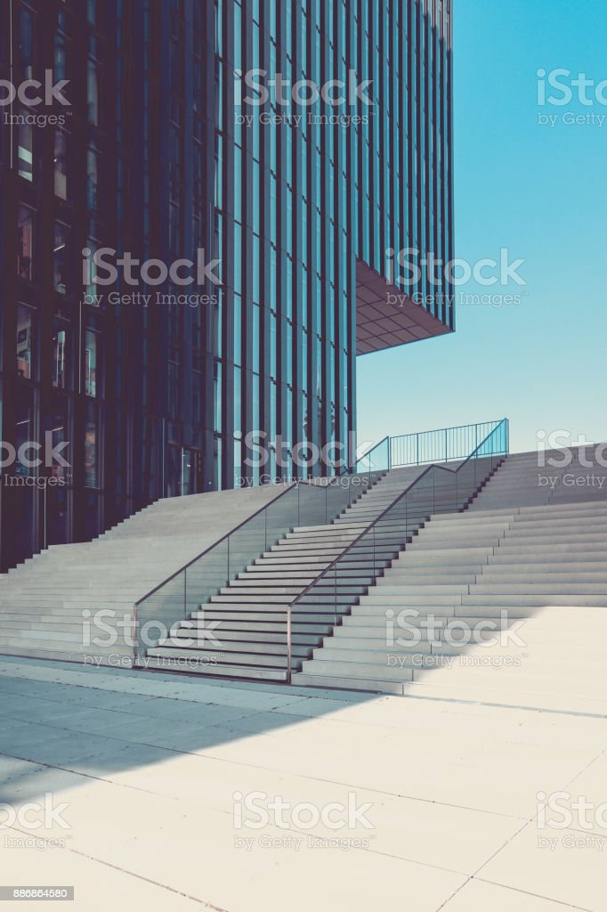 modern staircase in urban surrounding, media harbor duesseldorf, germany stock photo