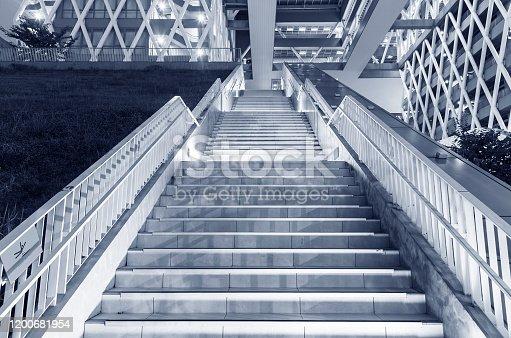 Night scene of stairway of modern architecture