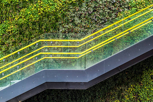 Modern Staircase Viw of a modern staircase in Manchester with a living plant background. northwest england stock pictures, royalty-free photos & images