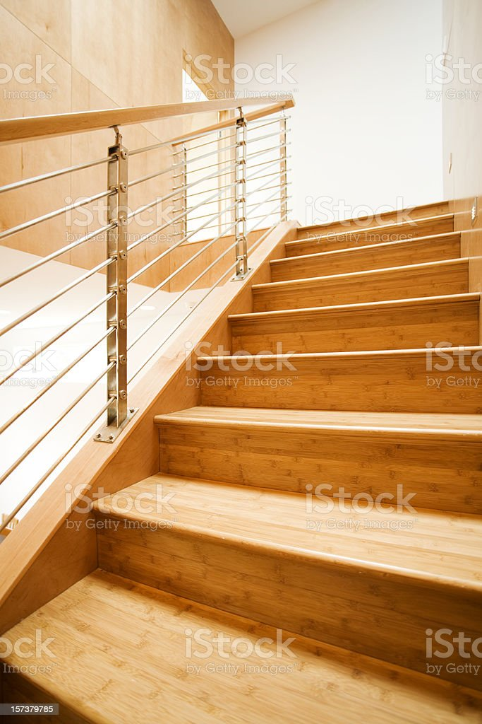 Modern Staircase with Metal Railing royalty-free stock photo