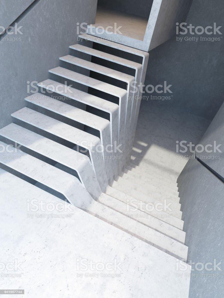 Photo libre de droit de Escalier Moderne En Attique Rendu 3d banque  d\'images et plus d\'images libres de droit de {top keyword}