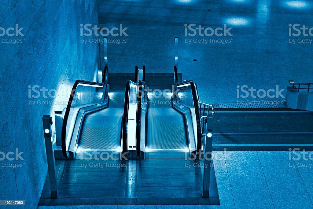 Modern station escalator royalty-free stock photo