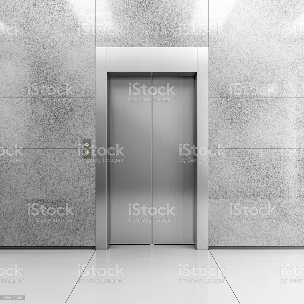 Modern steel elevator - foto de stock