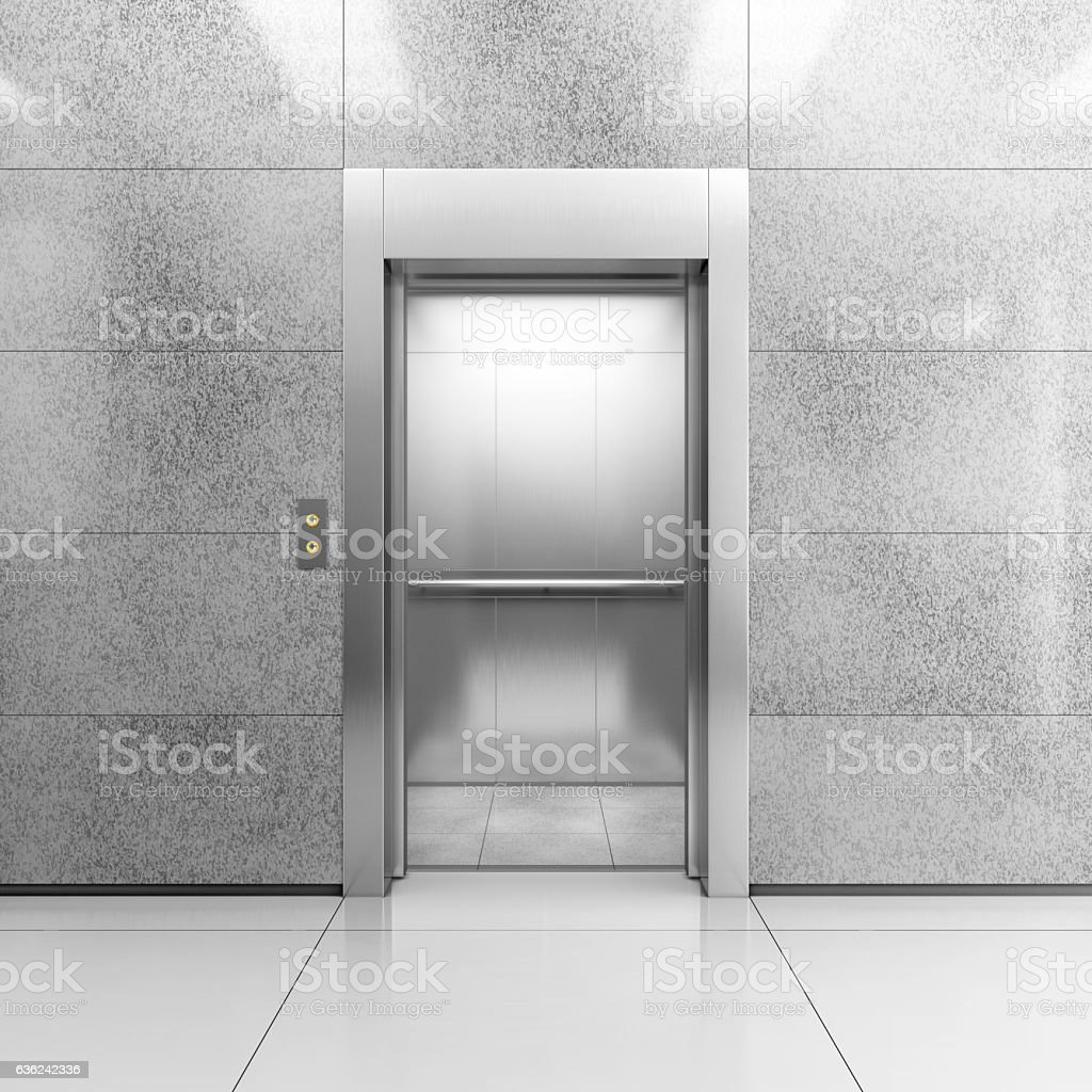 Modern steel elevator stock photo