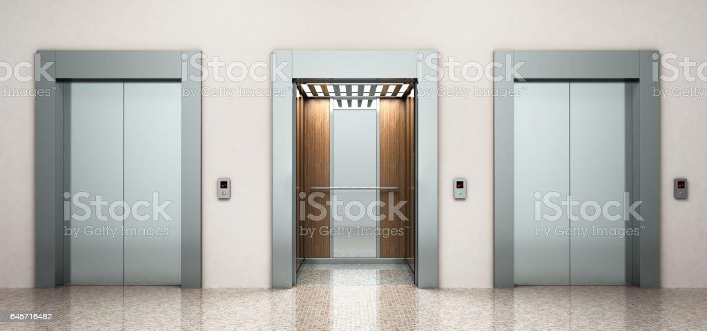 renderizado 3d de moderno acero elevatore - foto de stock