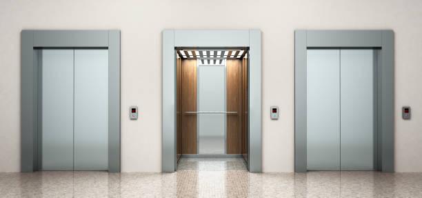 modern steel elevatore 3d rendering image - ascensore foto e immagini stock