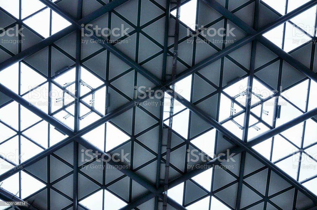 Modern steel roof of railway station in Łódź