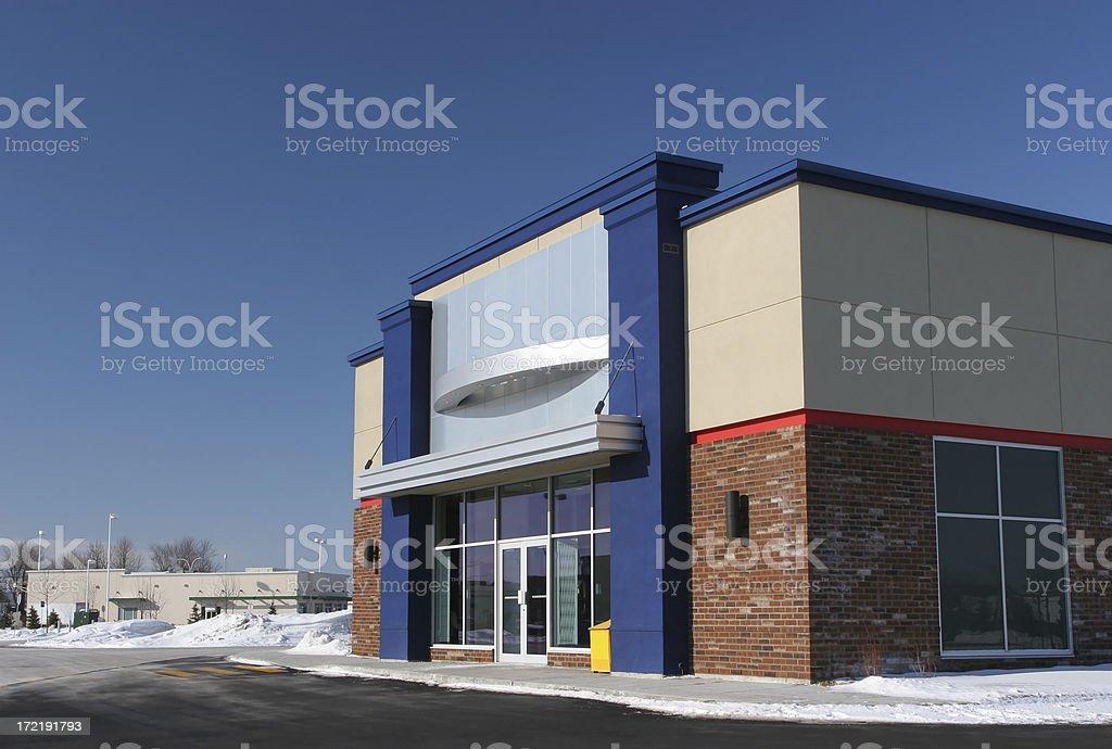 Modern Store Building in Winter