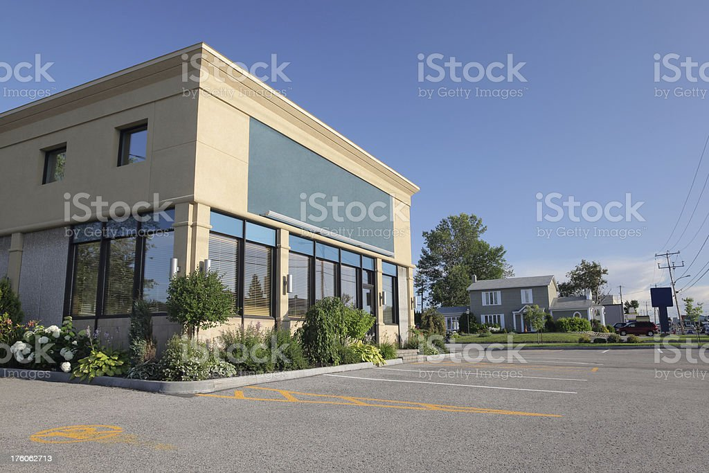 Modern Store Building with plants