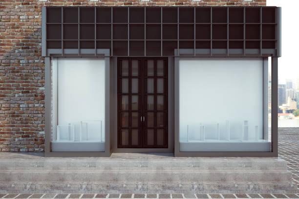 loja moderna com outdoor vazio - facade shop 3d - fotografias e filmes do acervo