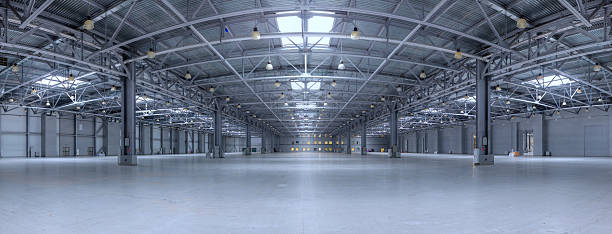 Modern storehouse Large modern empty storehouse. Very big resolution panorama. warehouse interior stock pictures, royalty-free photos & images