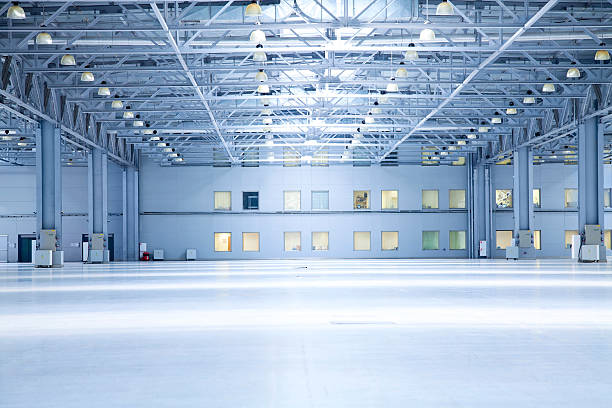 modern  storehouse empty room of modern  storehouse with office rooms warehouse interior stock pictures, royalty-free photos & images