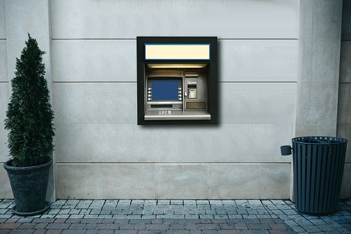Modern Street Atm Machine For Withdrawal Of Money And Other Financial Transactions Stock Photo - Download Image Now
