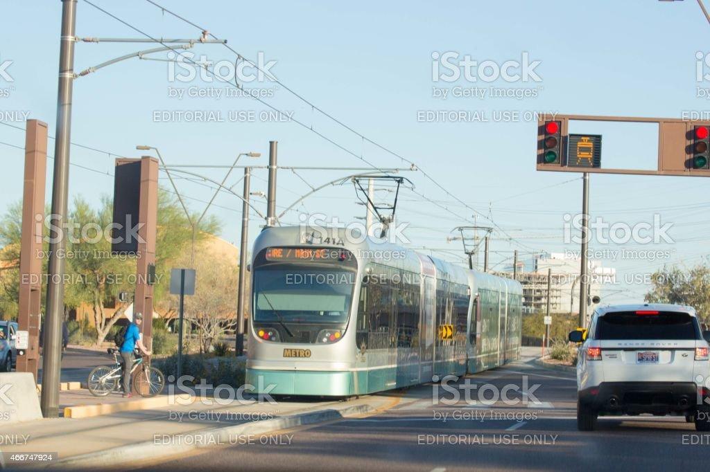 Modern street car vehicle in Tempe, Arizona stock photo