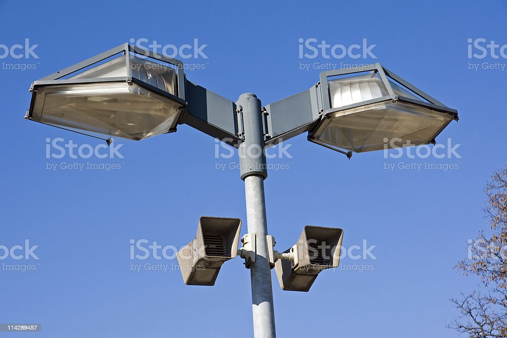 Modern street lights with speakers stock photo