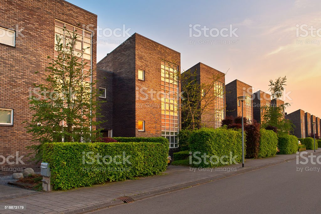 Modern street the Netherlands in afternoon sun stock photo