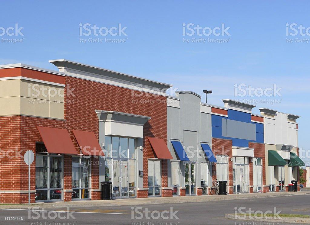 Modern Strip Mall Building Exteriors stock photo