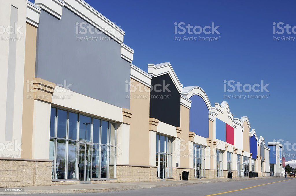 Modern Strip Mall Store Buildings stock photo