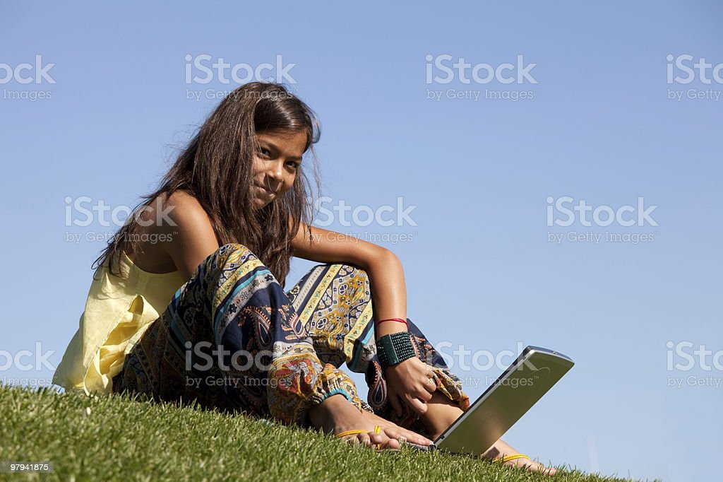 Modern student little girl royalty-free stock photo
