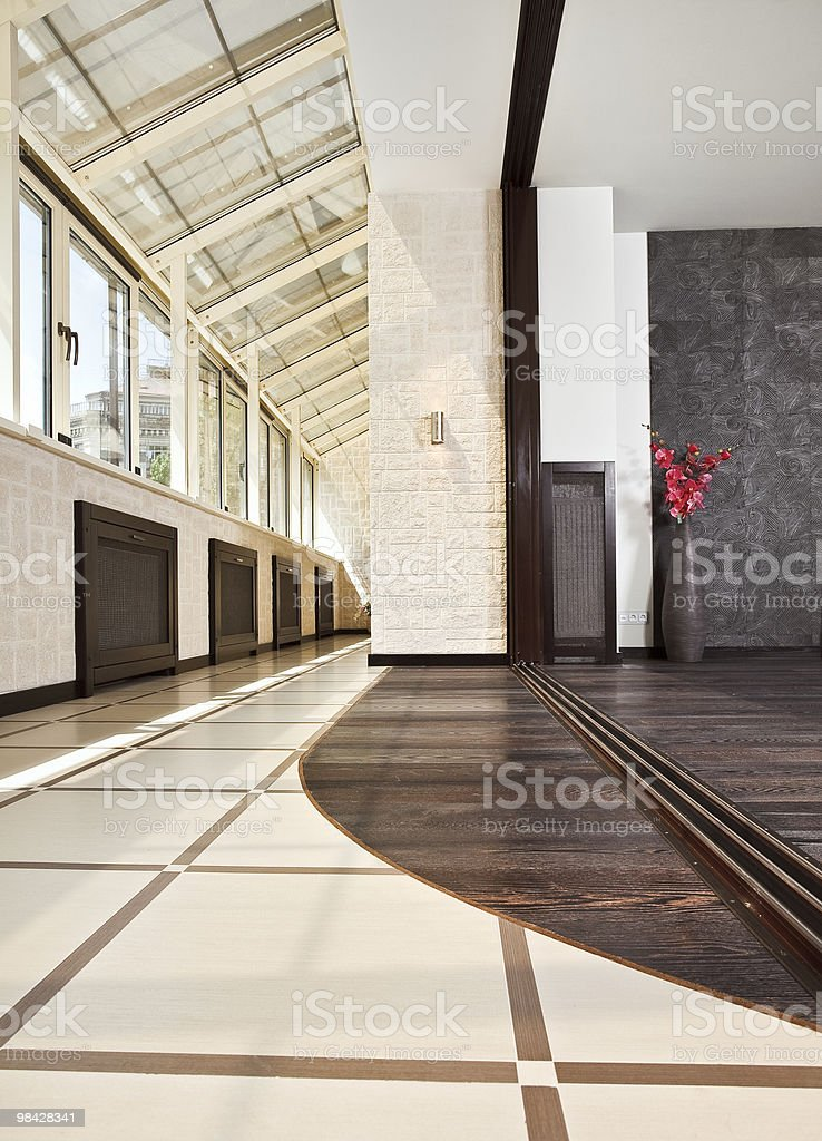 Modern studio and balcony (gallery) interior royalty-free stock photo