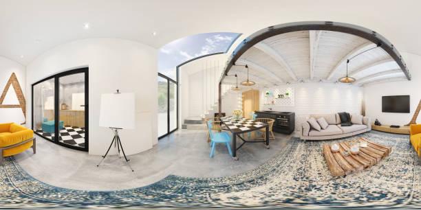moderno monoambiente 360 equirectangular panorámica interior - 360 fotografías e imágenes de stock