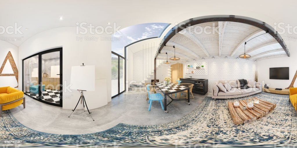 Modern studio apartment 360 equirectangular panoramic interior stock photo
