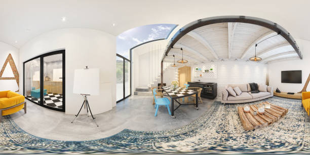 Modern studio apartment 360 equirectangular panoramic interior Equirectangular panoramic 360 VR image, modern apartment with living room, kitchen and dining room with double story and modern stairs. copy space template 360 degree view stock pictures, royalty-free photos & images